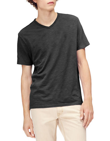 Calvin Klein Jeans Mixed Media V-Neck Cotton T-Shirt-BLACK-Large 89986882_BLACK_Large