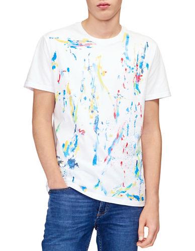 Calvin Klein Jeans Splatter-Print Cotton T-Shirt-WHITE-Small 89912856_WHITE_Small