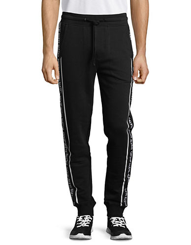 Calvin Klein Jeans Logo Tape Cotton Jogger Pants-BLACK-X-Large 89986870_BLACK_X-Large