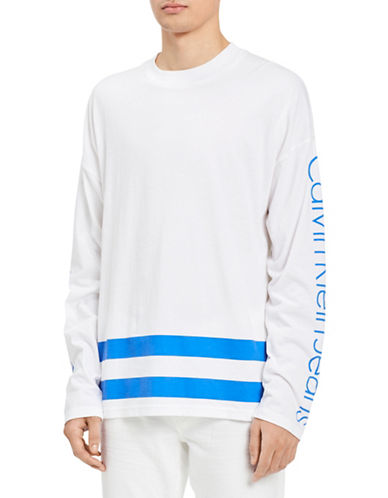 Calvin Klein Jeans Classic-Fit Athletic Stripe Cotton T-Shirt-STRONG BLUE-X-Small 89986842_STRONG BLUE_X-Small