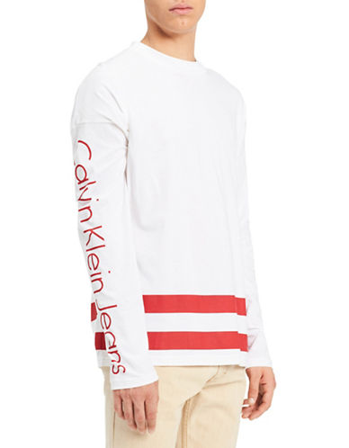 Calvin Klein Jeans Classic-Fit Athletic Stripe Cotton T-Shirt-RED-Medium 89986849_RED_Medium