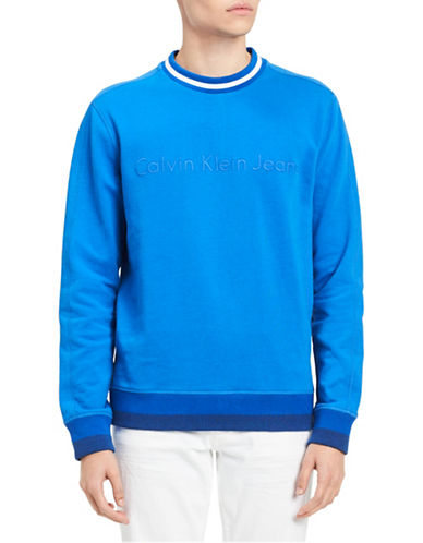 Calvin Klein Jeans Tonal Rib Tipping Sweater-BLUE-X-Large 89912847_BLUE_X-Large