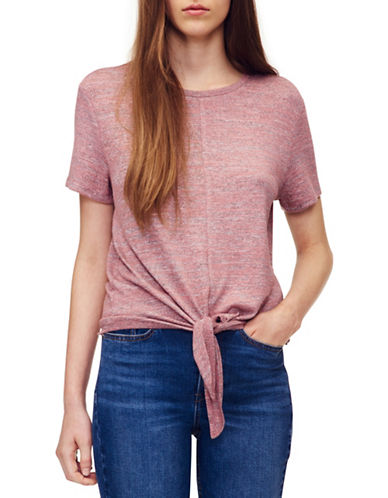 Calvin Klein Jeans Tie Front Short-Sleeve Tee-PINK-Small 89995495_PINK_Small