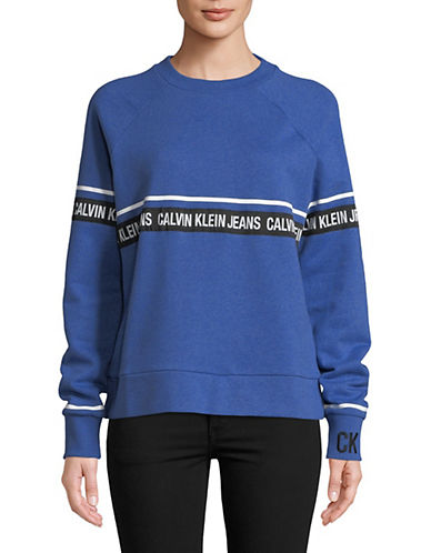 Calvin Klein Jeans Athletic Logo Tape Sweatshirt-BLUE-X-Small 89995544_BLUE_X-Small