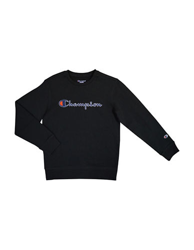 Champion Heritage Crew Neck Fleece Pullover-BLACK-Small