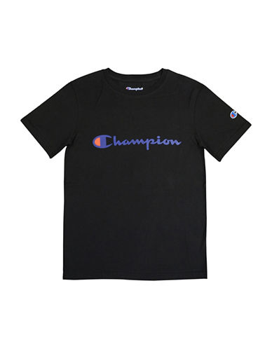 Champion Heritage Short-Sleeve Cotton Tee-BLACK-Small