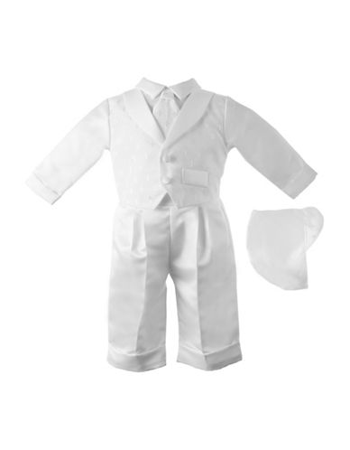 Lauren Madison Three-Piece Dobby Cross Christening Pants Set-WHITE-9-12 Months
