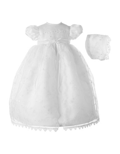 Lauren Madison Embroidered Christening Dress with Hat-WHITE-9-12 Months