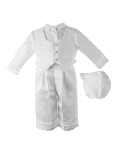 Lauren Madison Three-Piece Satin Stripe Christening Pants Set-WHITE-18 Months