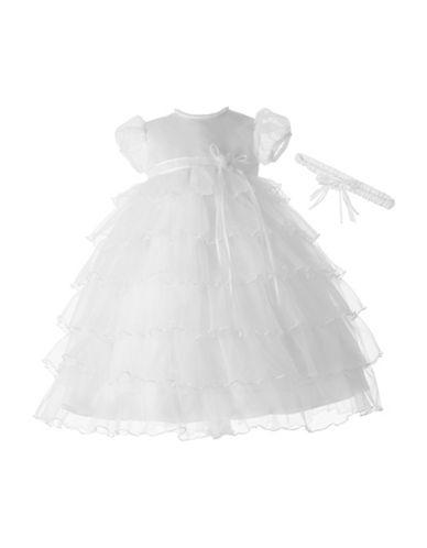 Lauren Madison Tiered Organza Christening Dress with Headband-WHITE-6-9 Months