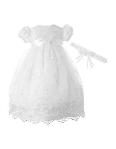 Lauren Madison Taffeta Christening Dress with Headband-WHITE-6-9 Months