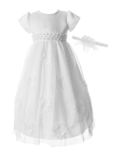 Lauren Madison Beaded Floral Waist Christening Dress with Headband-WHITE-0-3 Months
