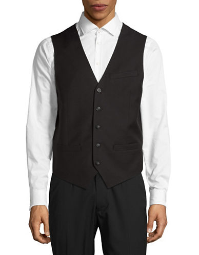 Perry Ellis Travel Luxe Wrinkle-Resistant Vest-BLACK-X-Large