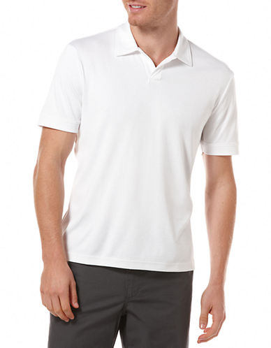 Perry Ellis Open Polo Knit-WHITE-Medium