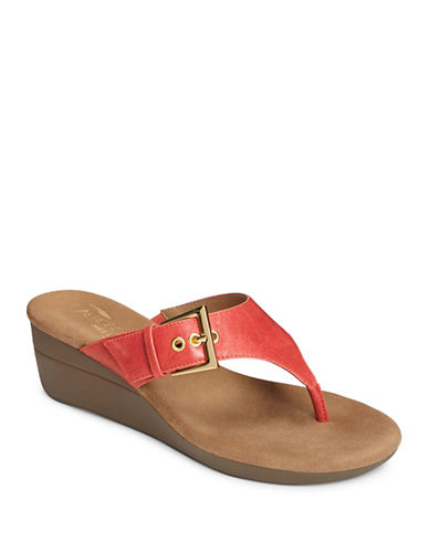 Aerosoles Cork Slip-On Wedge Sandals-CORAL-7