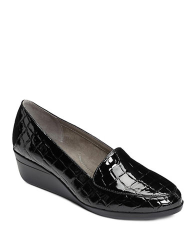 Aerosoles True Match Crocodile Embossed Faux Leather Loafers-BLACK-7.5
