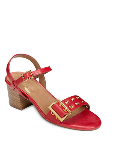 Aerosoles Mid Town Eyelet Sandals-RED-5.5