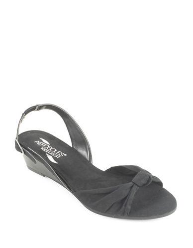Aerosoles Literature Wedge Sandals-BLACK-6.5
