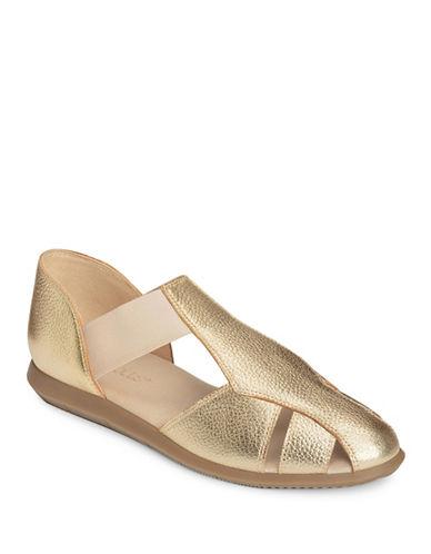 Aerosoles Believe Leather Flat Sandals-GOLD-6.5