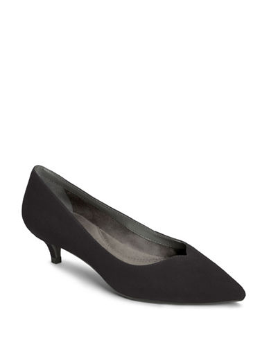 Aerosoles Dress Code Suede Kitten Pumps-BLACK-6