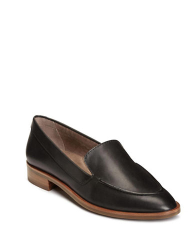 Aerosoles Classic Leather Loafers-BLACK-9
