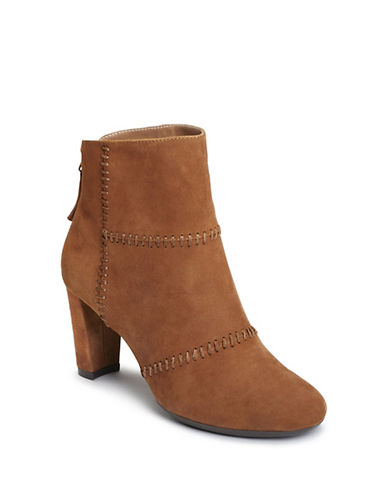 Aerosoles Leather Booties-TAN-8.5