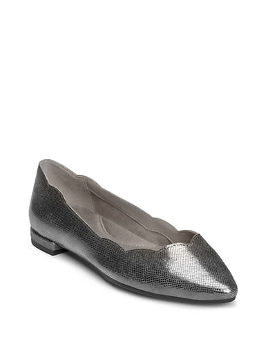 Aerosoles Leather Flats-GUNMETAL-7