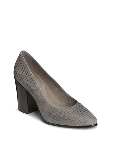 Aerosoles Classic Leather Pumps-GREY-9.5