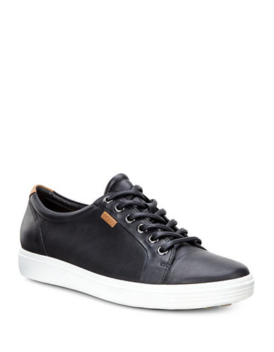 Ecco Soft 7 Leather Sneakers-BLACK-EUR 35/US 5