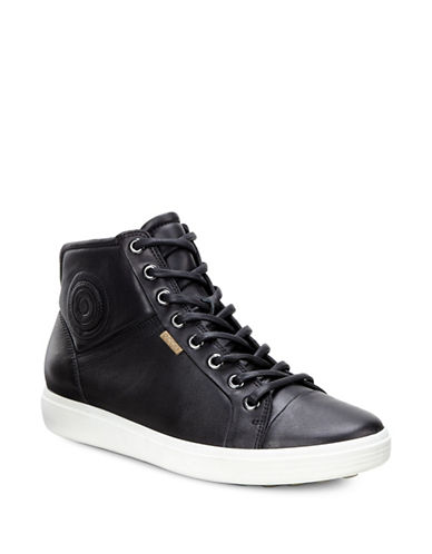 Ecco Leather Hi-Top Sneakers-BLACK-EUR 39/US 9