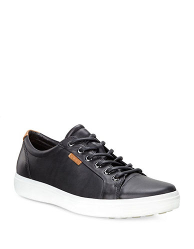 Ecco Soft Leather Sneakers-BLACK-EU 45/US 12