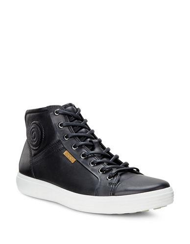 Ecco Soft 7 High Top Sneakers-BLACK-EU 43/US 10