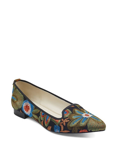 Anne Klein Oni Almond Toe Embroidered Flats-BLACK-8.5