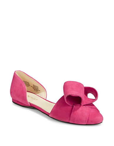 Nine West Shoreside Leather dOrsay Flats-PINK SUEDE-8.5
