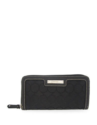 Nine West Jacquard Zip Wallet-BLACK-One Size