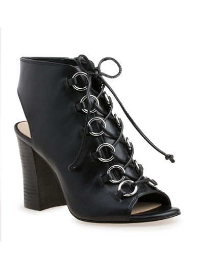 Nine West Bree Peep-Toe Leather Booties-BLACK-10