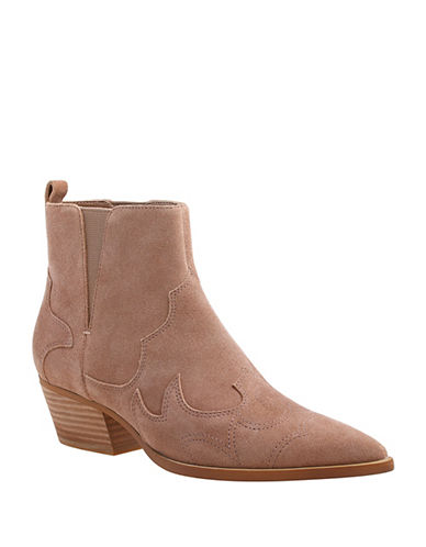 Nine West Cedar Suede Ankle Boots-BEIGE-7.5