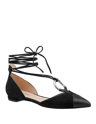 Nine West Alice Lace-Up Suede Combo Flats-BLACK-9