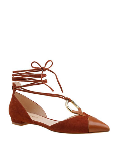 Nine West Alice Lace-Up Suede Combo Flats-BROWN-8.5