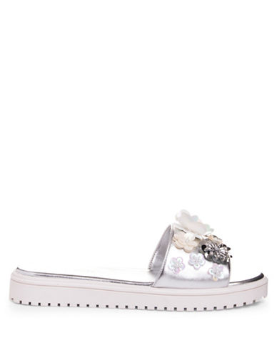 Nine West Rainen Platform Slides-SILVER-6