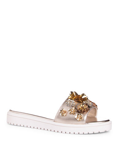 Nine West Rainen Platform Slides-GOLD-9