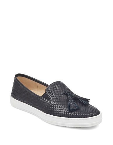 Anne Klein Zane Leather Slip-On Sneakers-BLACK-6.5