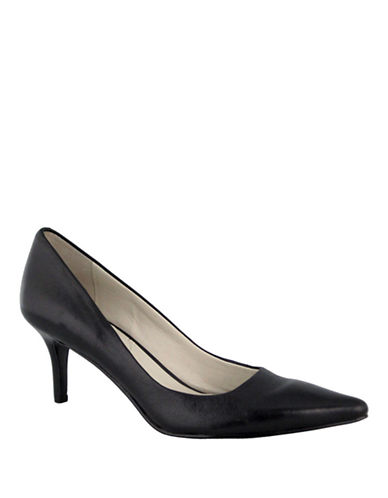 Nine West Austin Mid Heel Pump-BLACK-8.5