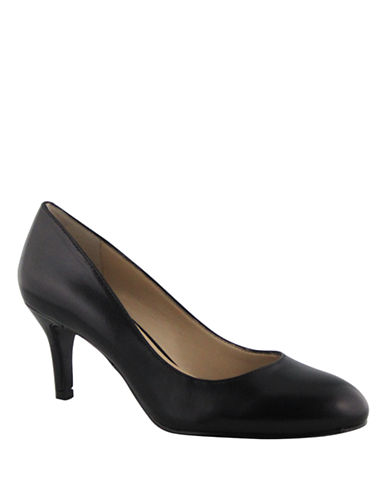 Nine West Applaud Mid Heel Pumps-BLACK LEATHER-6