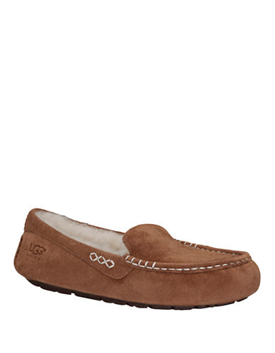 Ugg Leisure Ansley Suede and Sheepskin Slippers-CHESTNUT-10