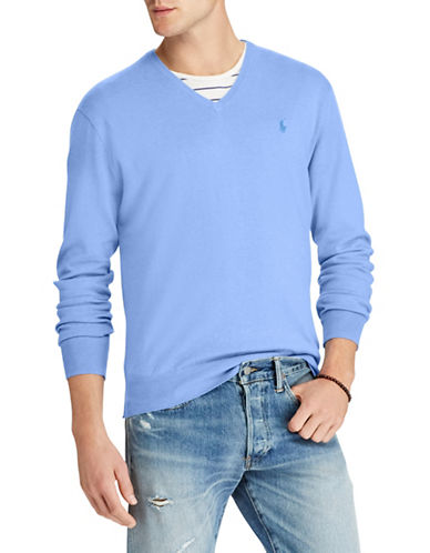 Polo Ralph Lauren Big and Tall Cotton V-Neck Sweater-BLUE-4X Big