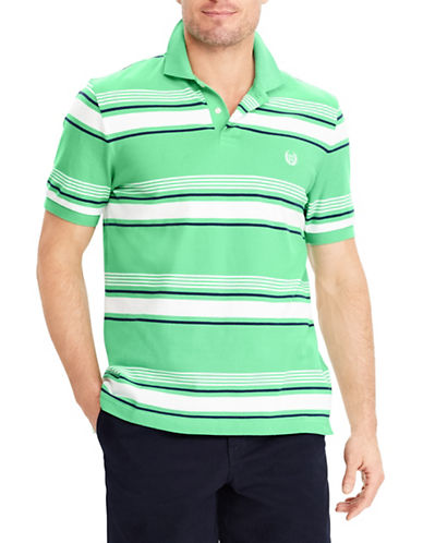 Chaps Big and Tall Stretch Mesh Striped Polo-GREEN-Large Tall