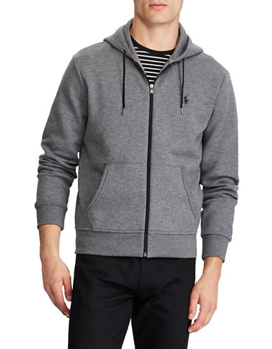Polo Ralph Lauren Big and Tall Double-Knit Full-Zip Hoodie-GREY-1X Tall