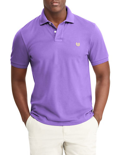Chaps Cotton Mesh Polo-PURPLE-Large