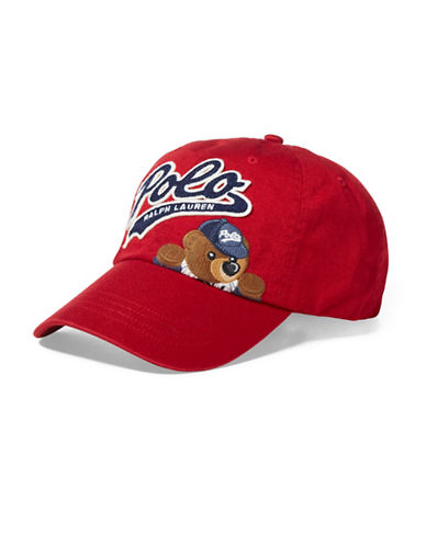 Polo Ralph Lauren Polo Bear Cotton Baseball Cap-BRIGHT RED-One Size